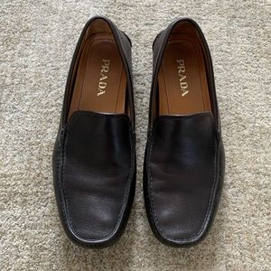 Prada Mens Brown Leather Driving Loafers, US 10